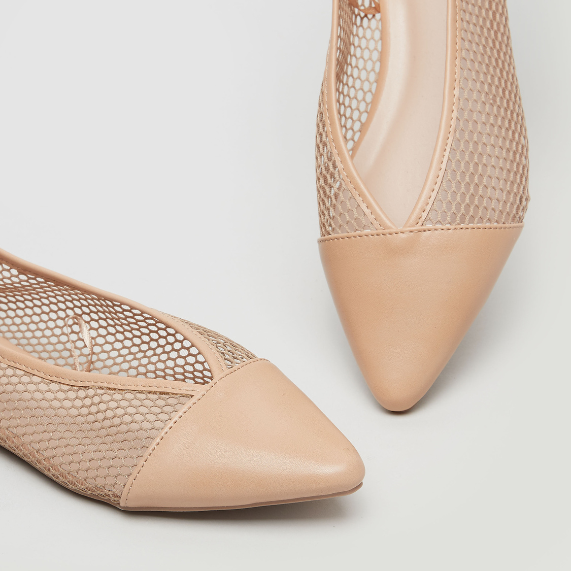 Mesh Textured Ballerina Shoes