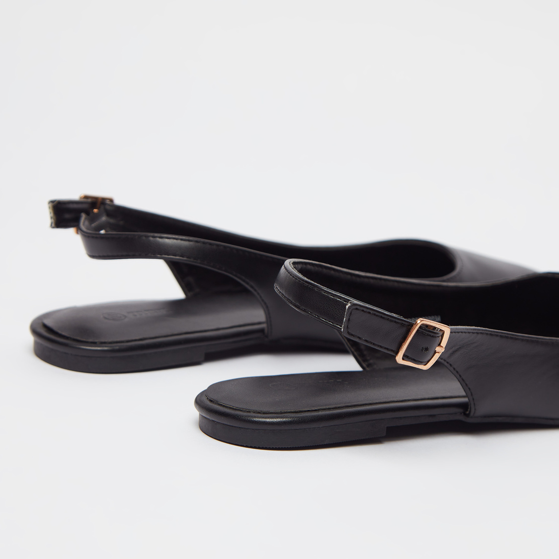 Solid Slingback Sandals with Pin Buckle Closure