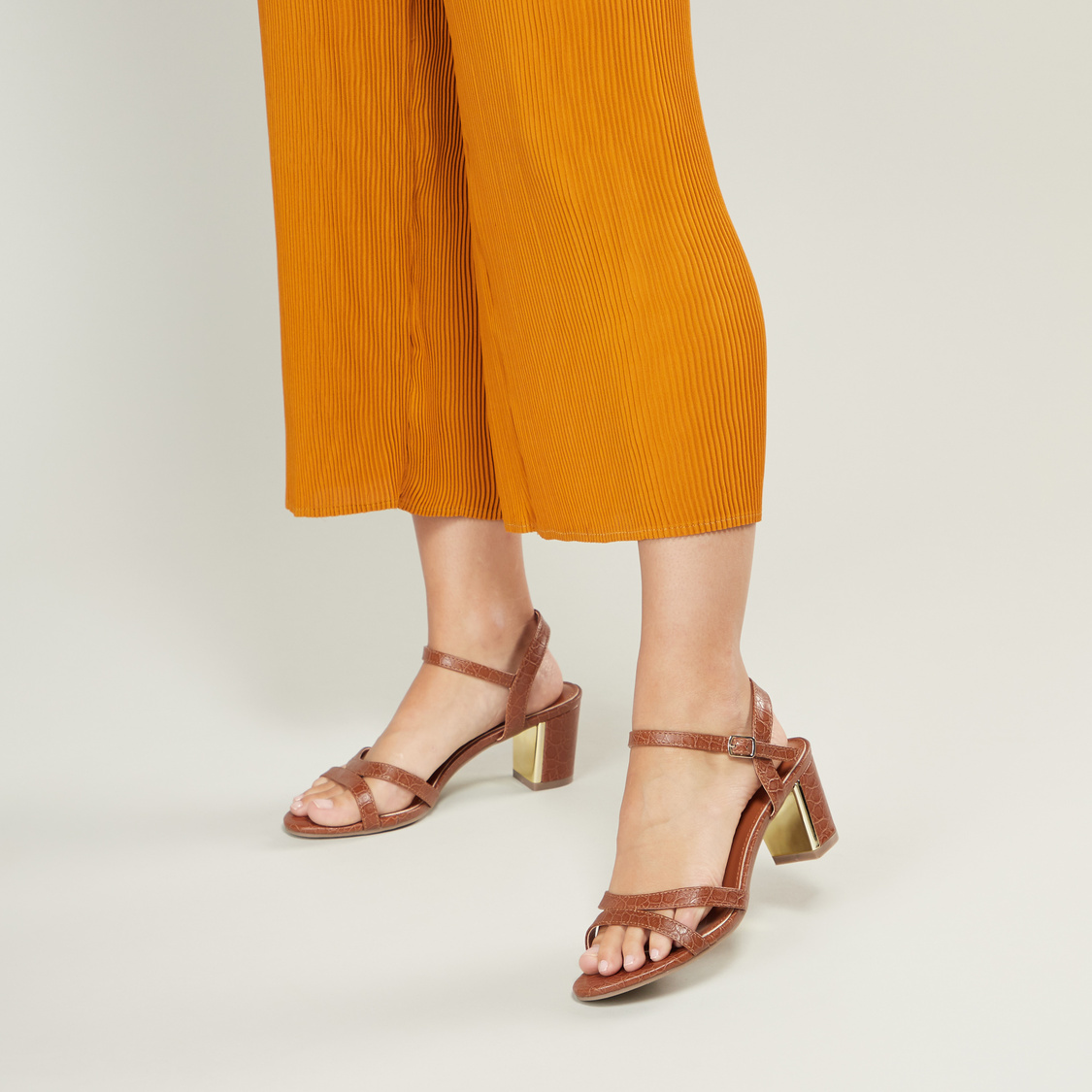 Textured Ankle Strap Sandals with Block Heels and Pin Buckle Closure