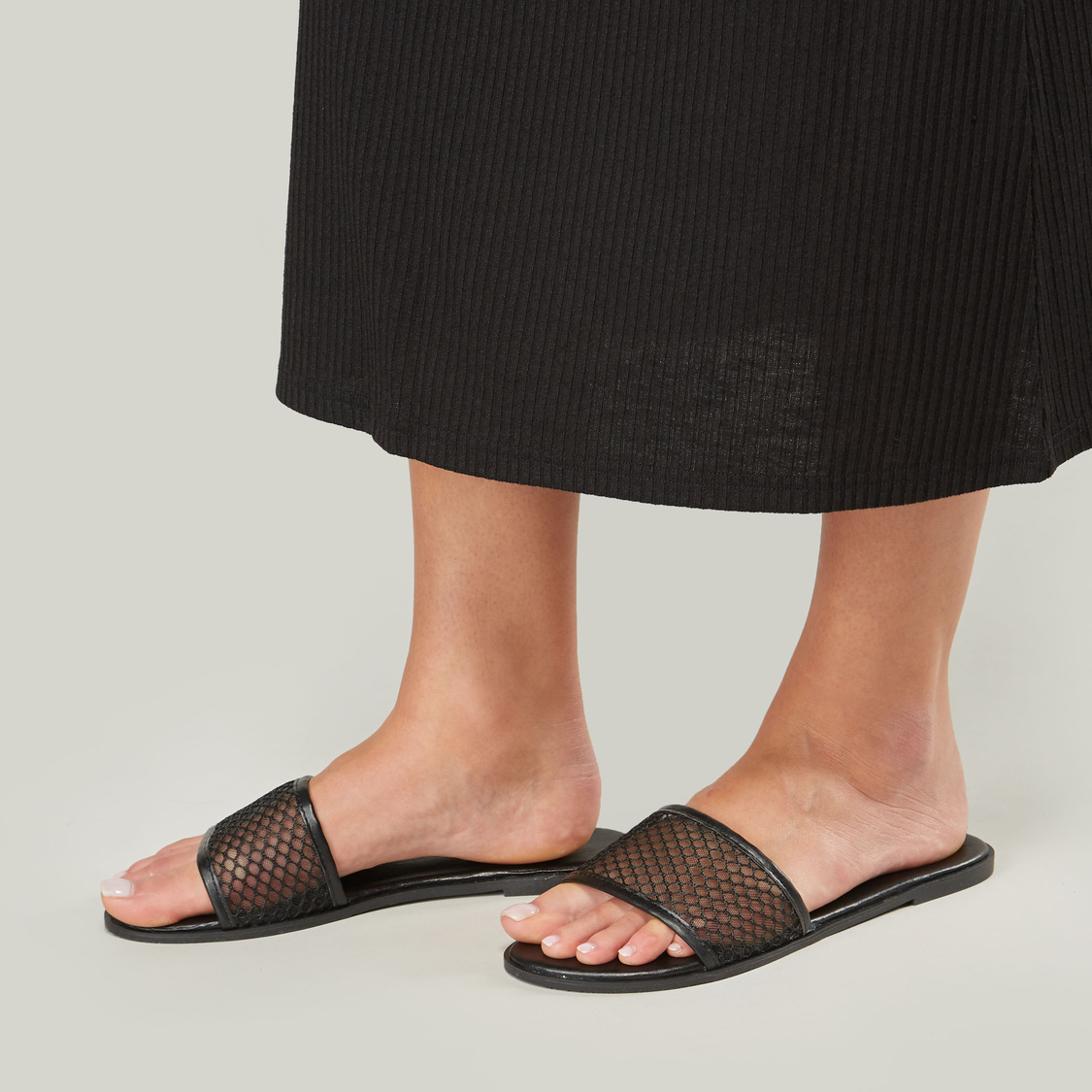 Flat Heel Slides with Textured Strap