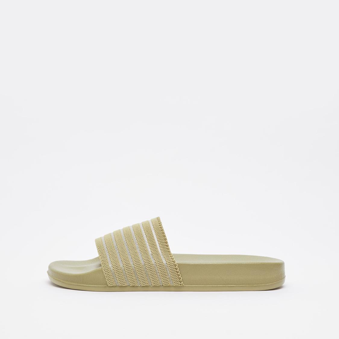 Slip-On Slides with Striped Midsole Strap