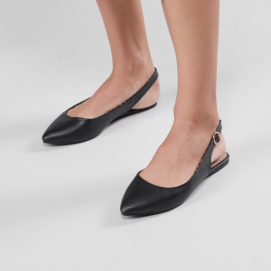 Slingback Mules with Pin Buckle Closure