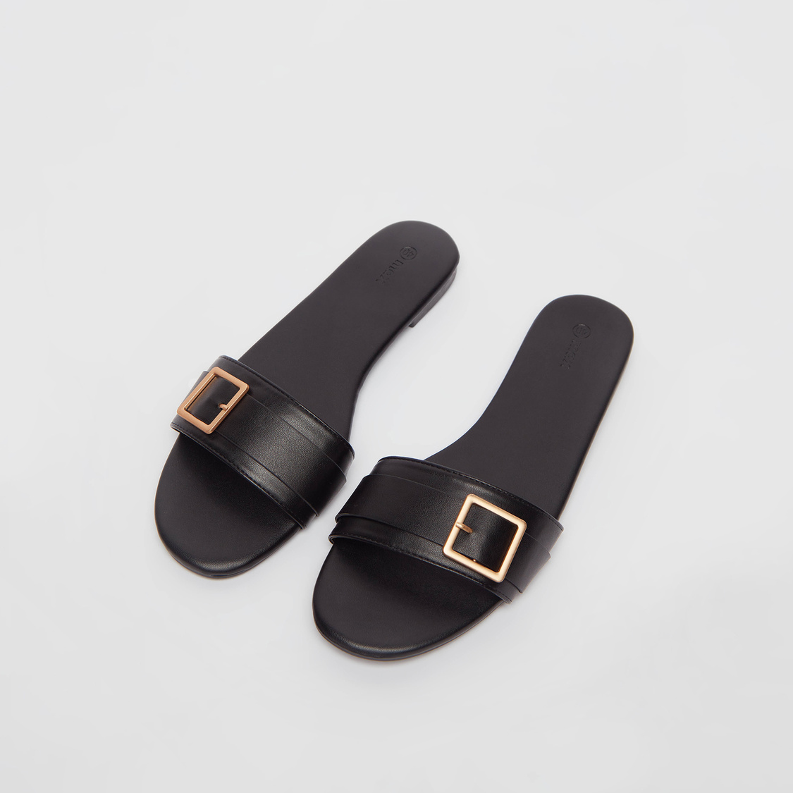 Pin Buckle Detail Sandals with Stacked Heels