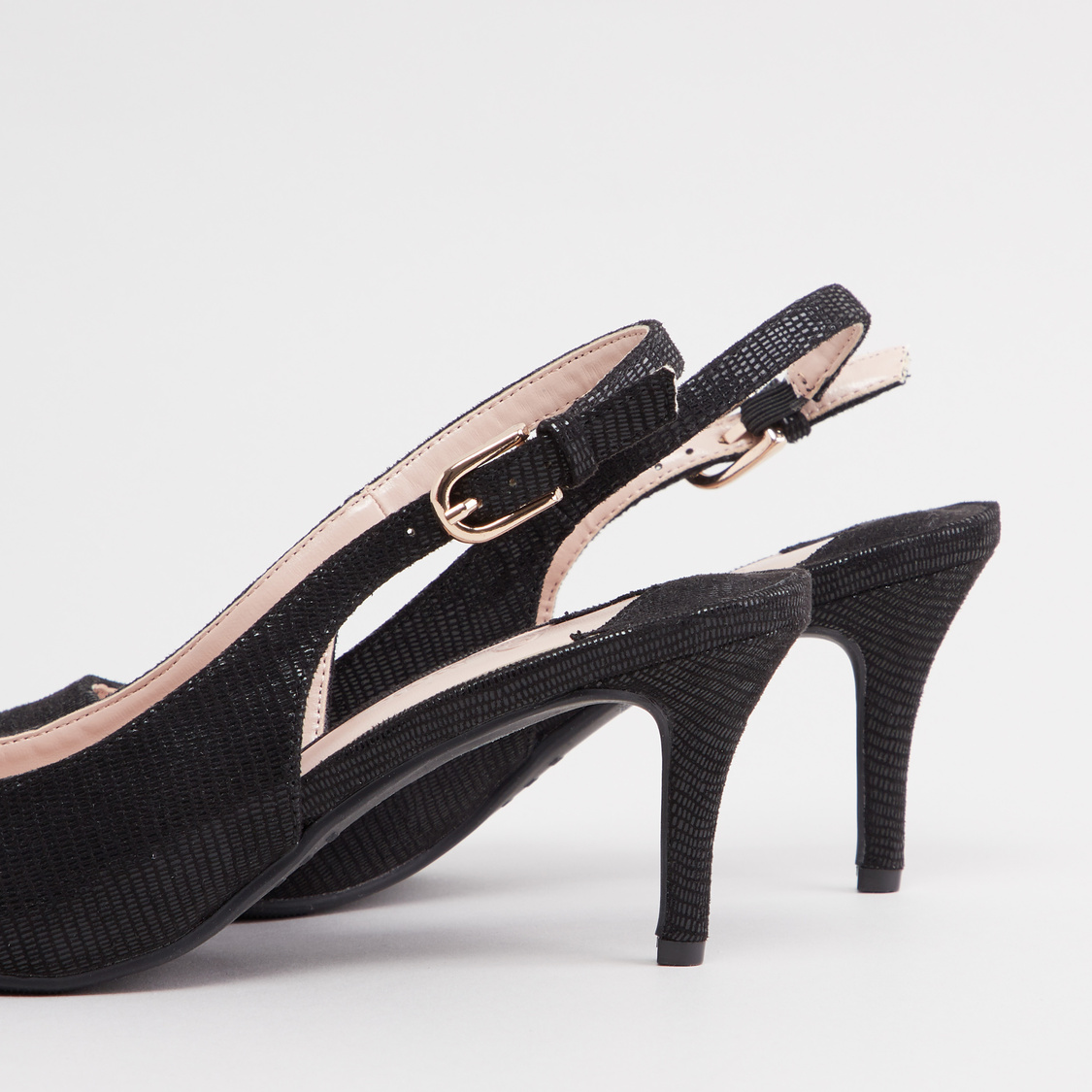 Textured Sandals with Slingback and Pin Buckle Closure