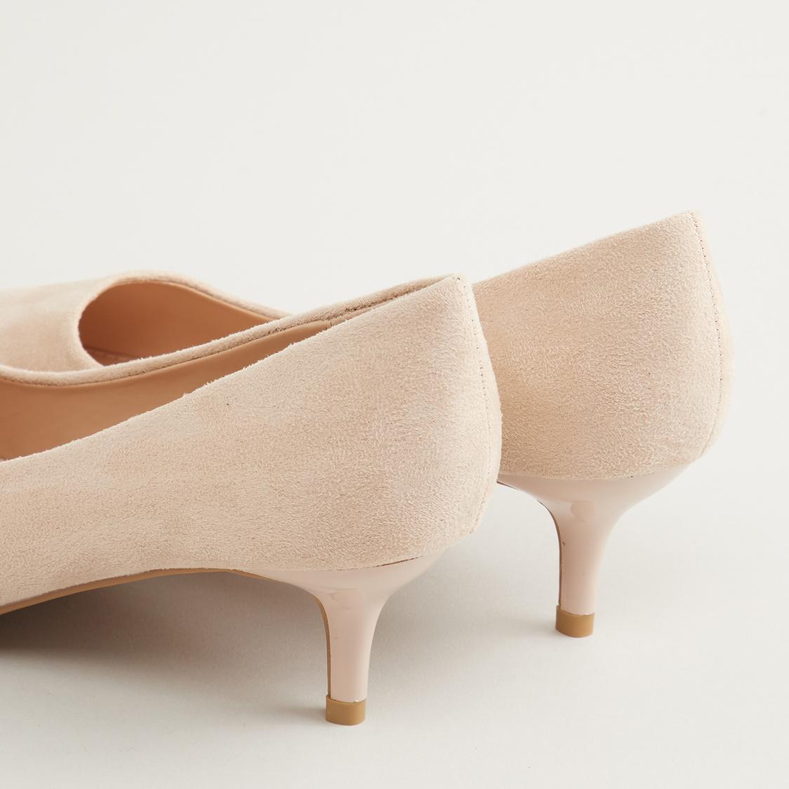 Textured Slip On Pumps with Kitten Heels