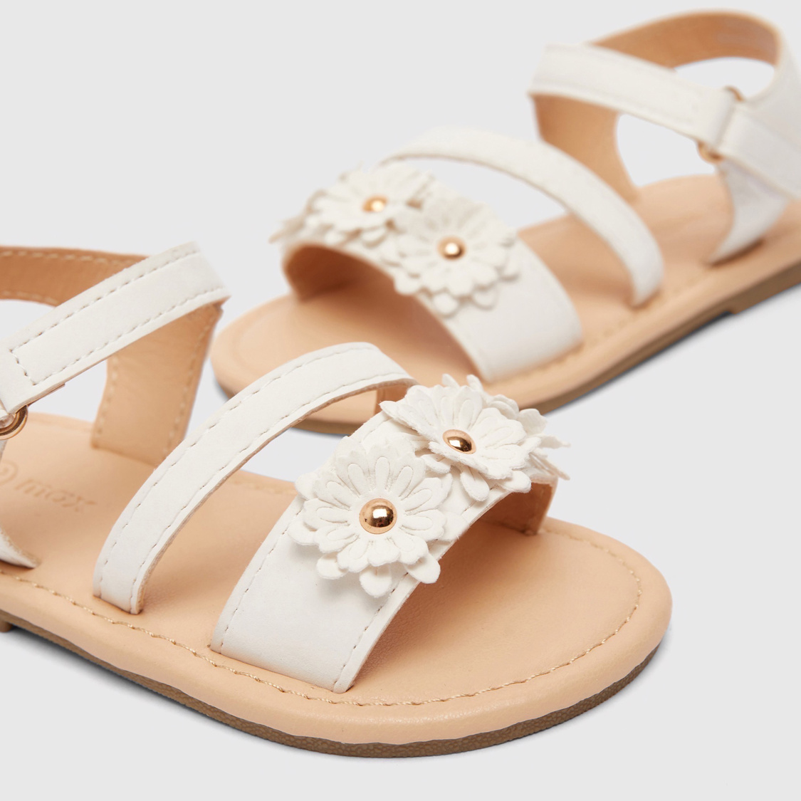 Floral Embellished Sandals with Hook and Loop Closure