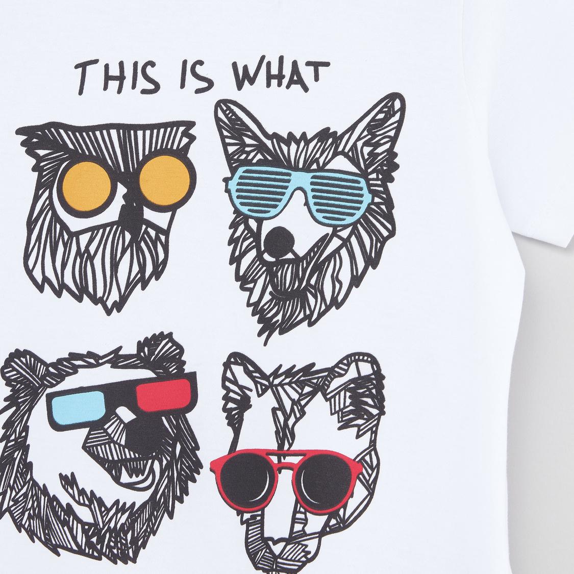 Printed Short Sleeves T-shirt with Full Length Jog Pants