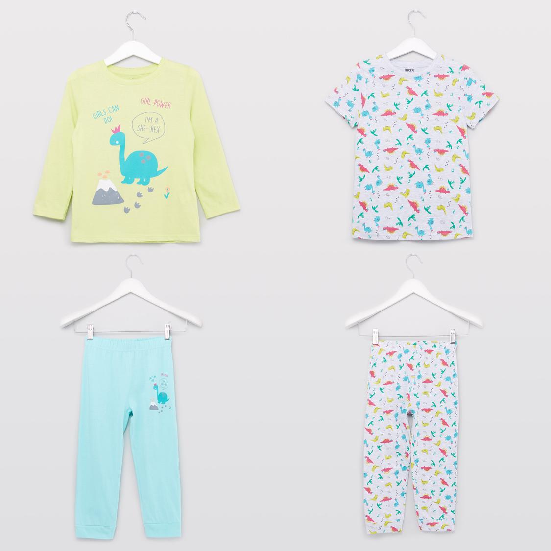 Set of 2 - Printed T-shirt and Pyjamas