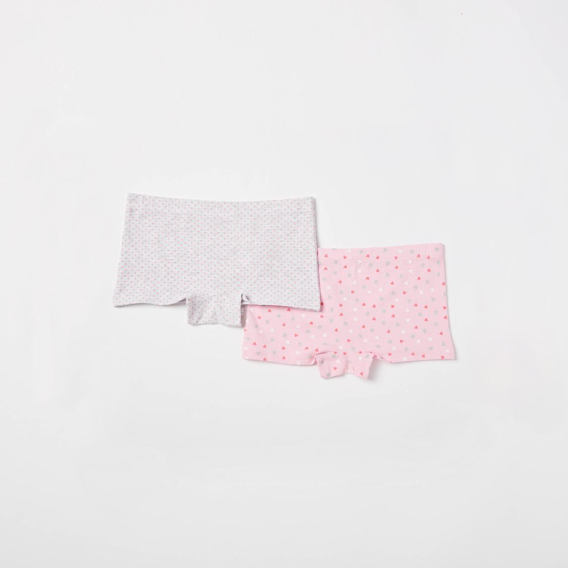 سراويل داخلية بخصر مطاطي وطبعات - مجموعة من قطعتين