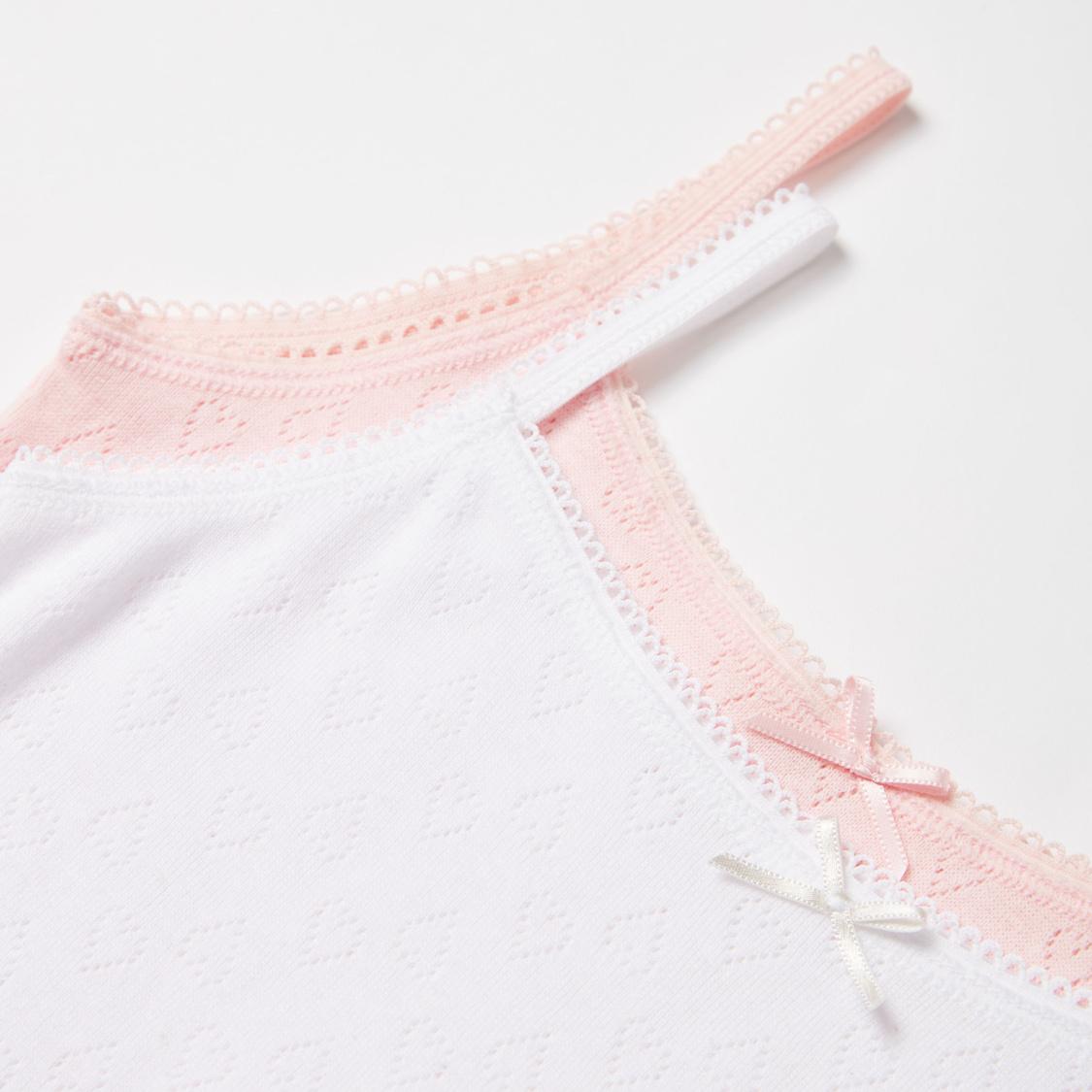 قميص داخلي قصير جاكار بدون أكمام وبتفاصيل دانتيل- طقم من قطعتين