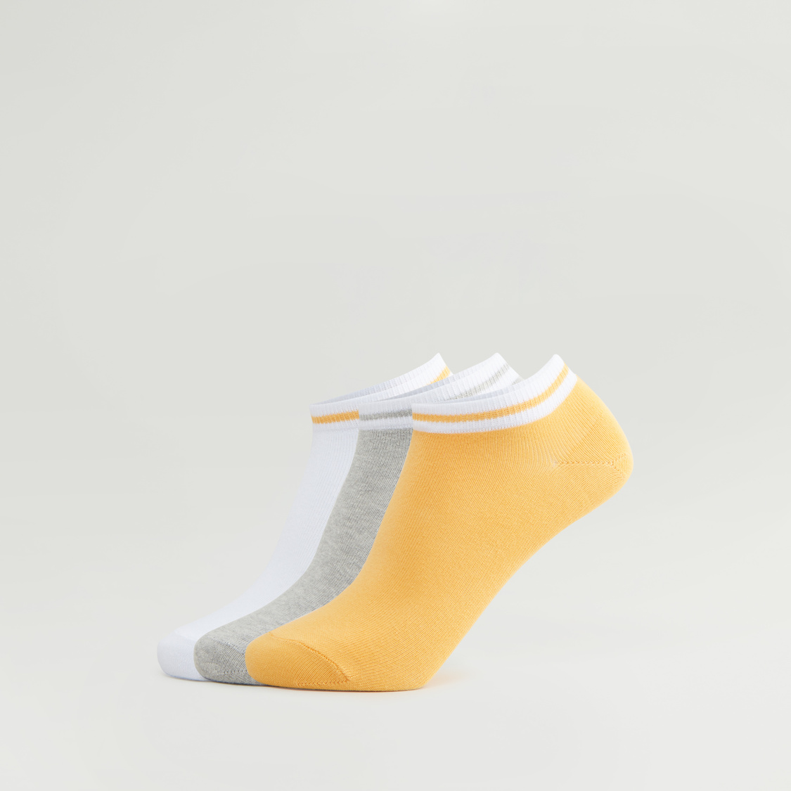 Set of 3 - Ankle Length Socks with Striped Hem