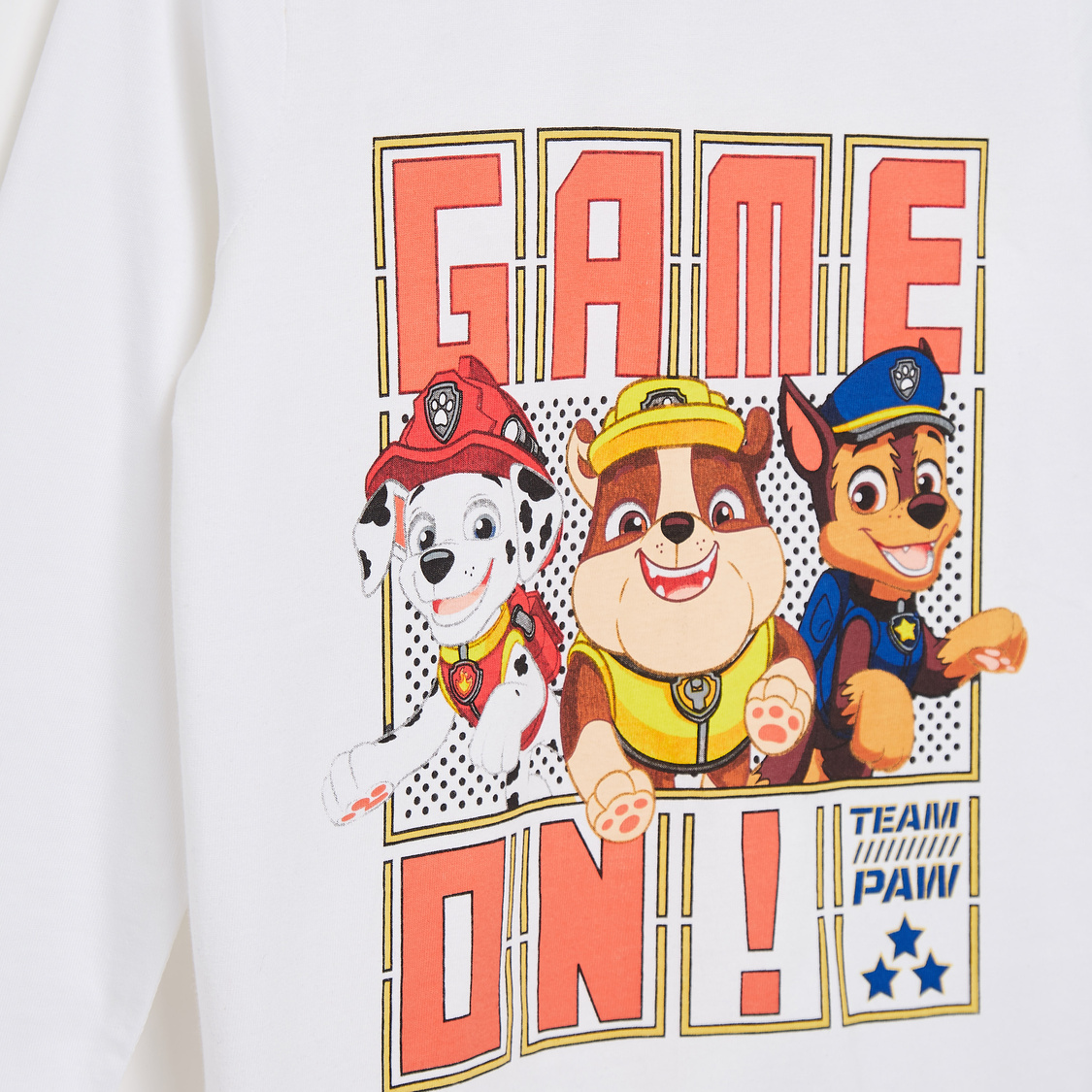 PAW Patrol Graphic Print T-shirt with Round Neck and Long Sleeves