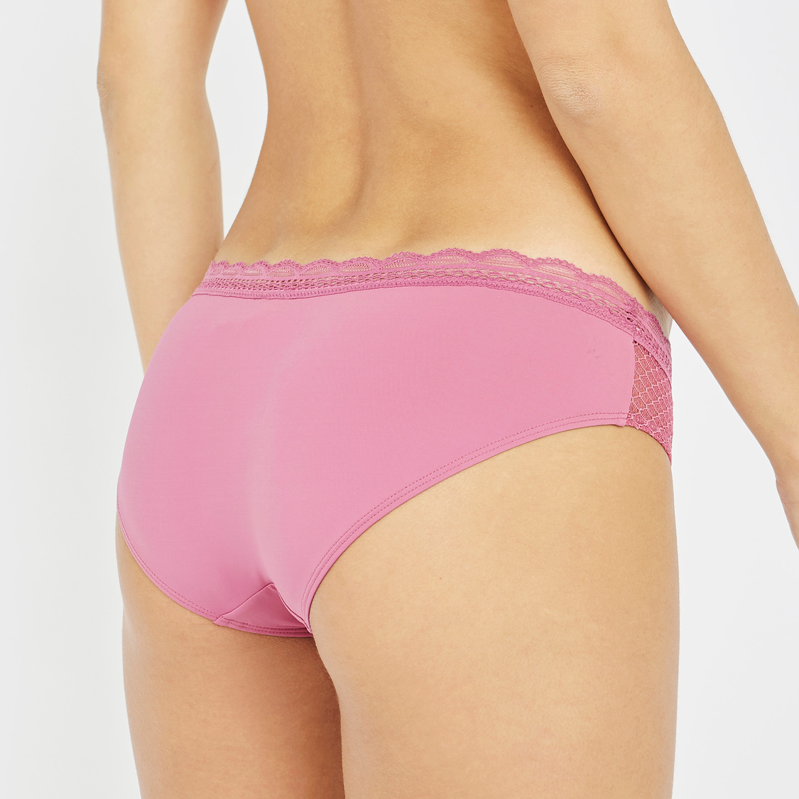 Set of 2 - Textured Hipster Briefs with Lace Detail