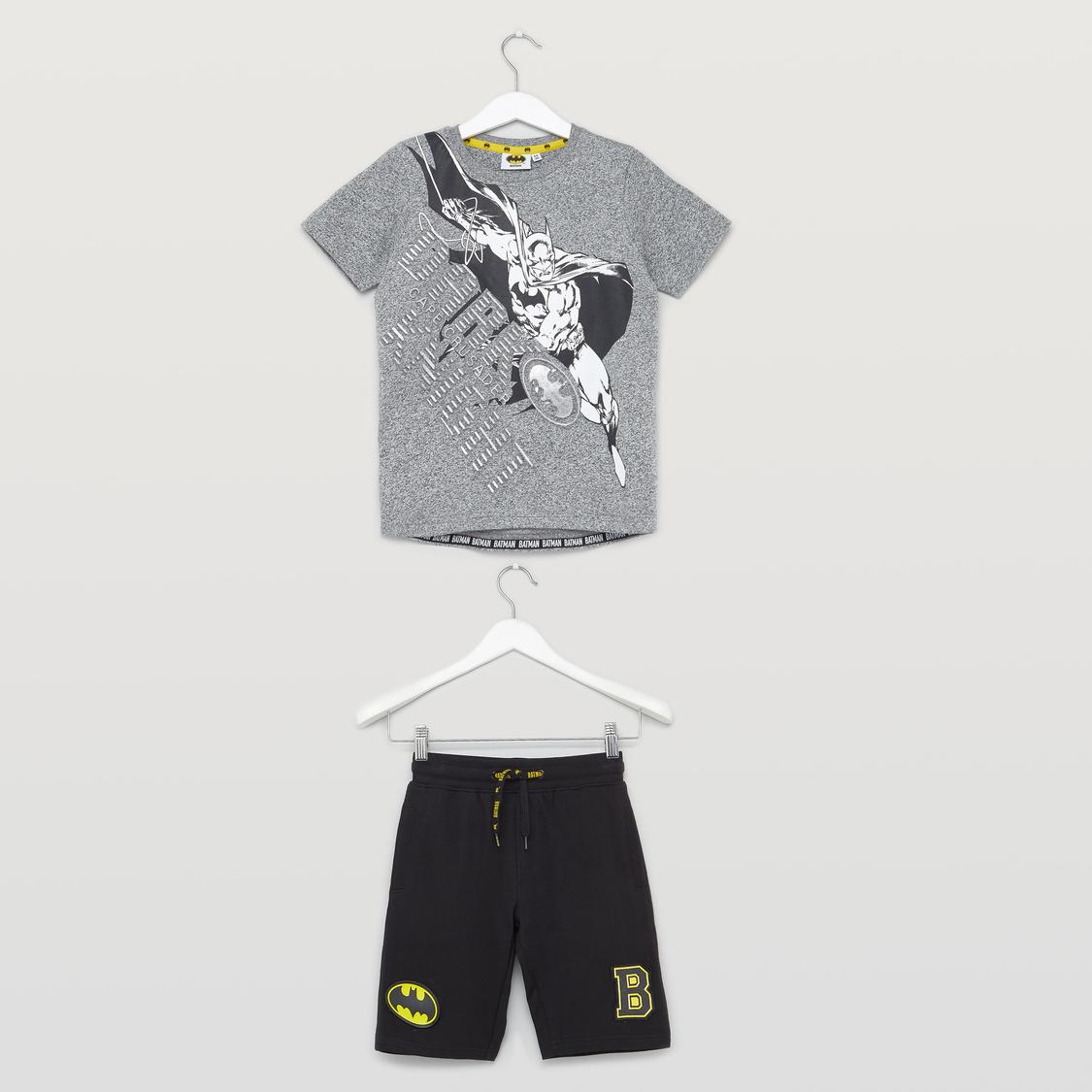 Batman Print T-shirt and Shorts Set