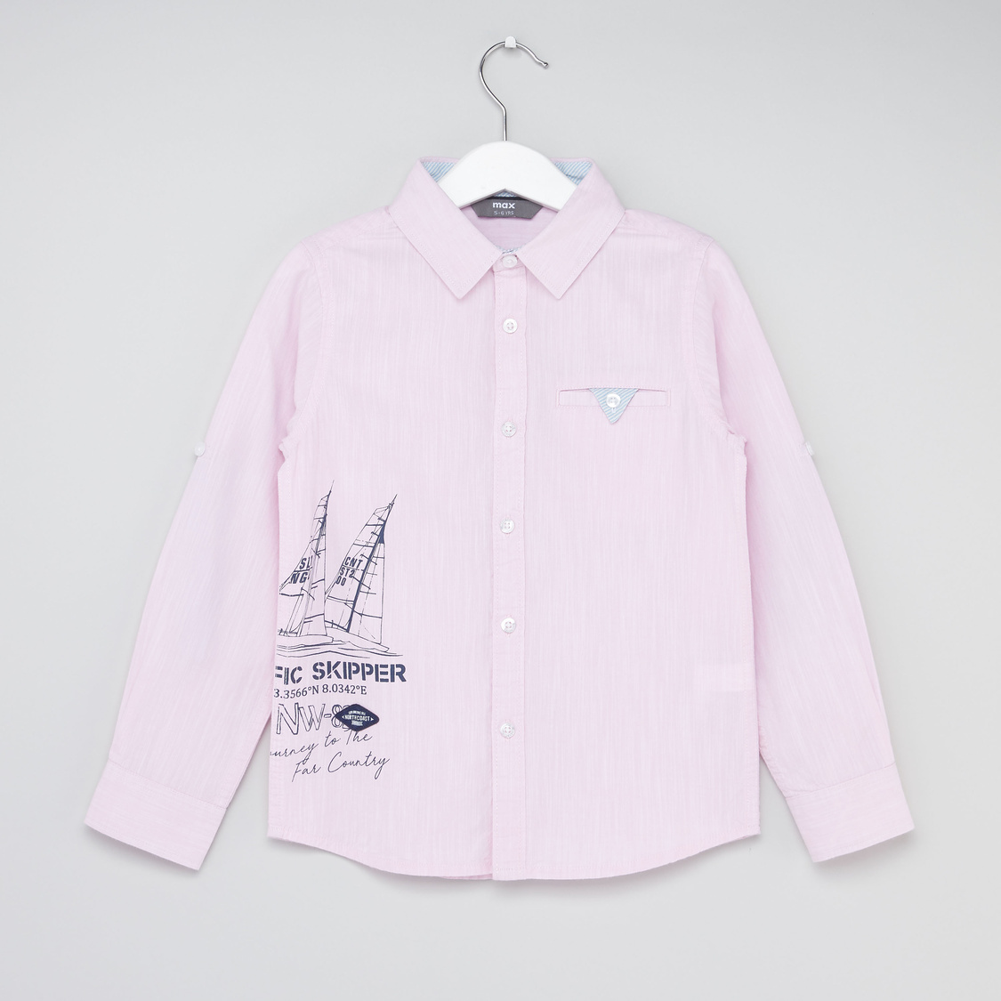 Graphic Print Shirt with Long Sleeves and Button Pocket