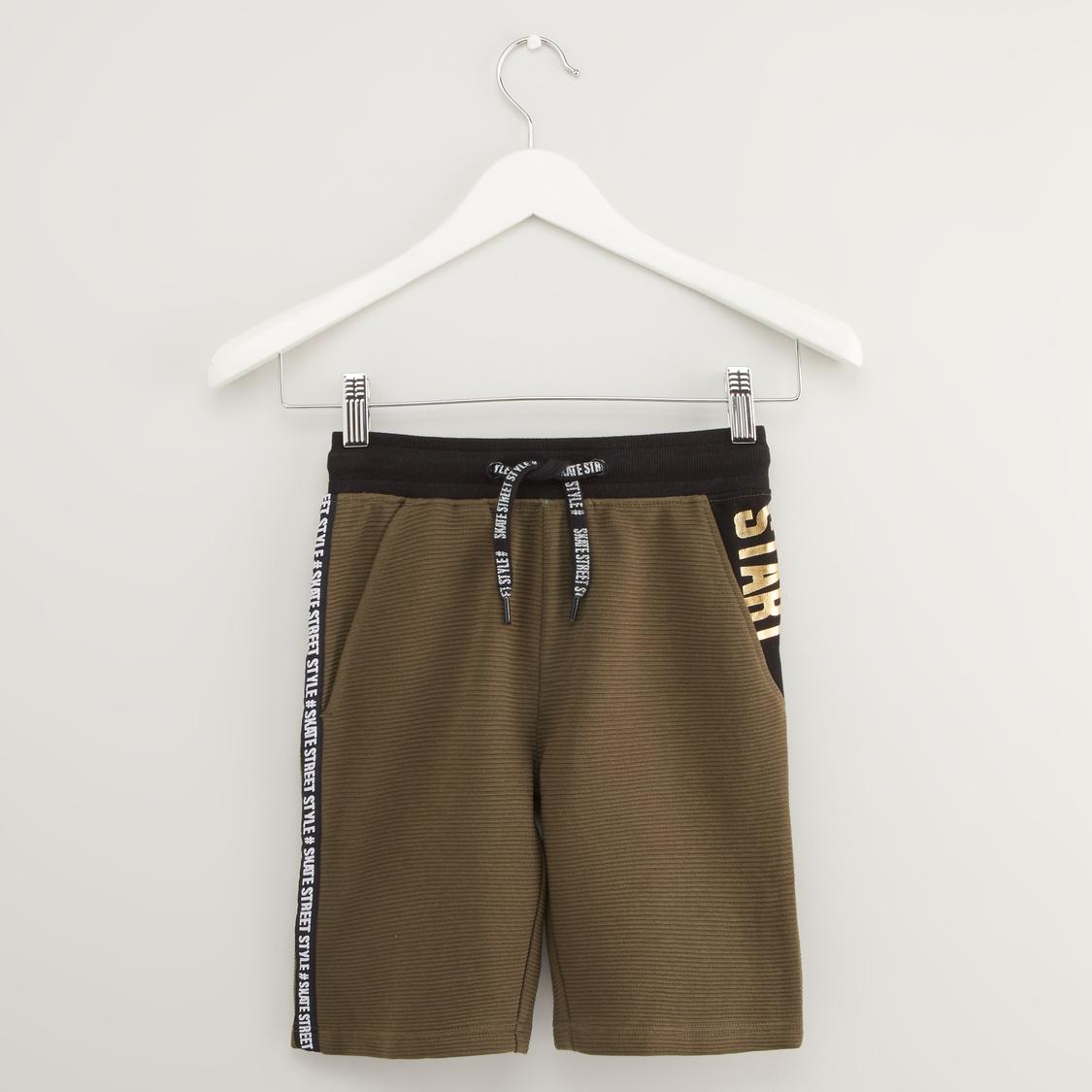 Printed Shorts with Pocket Detail and Drawstring