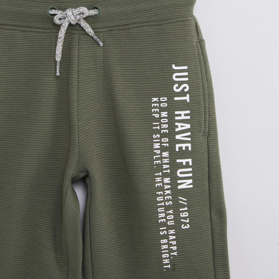 Printed Shorts with Elasticated Drawstring Waistband