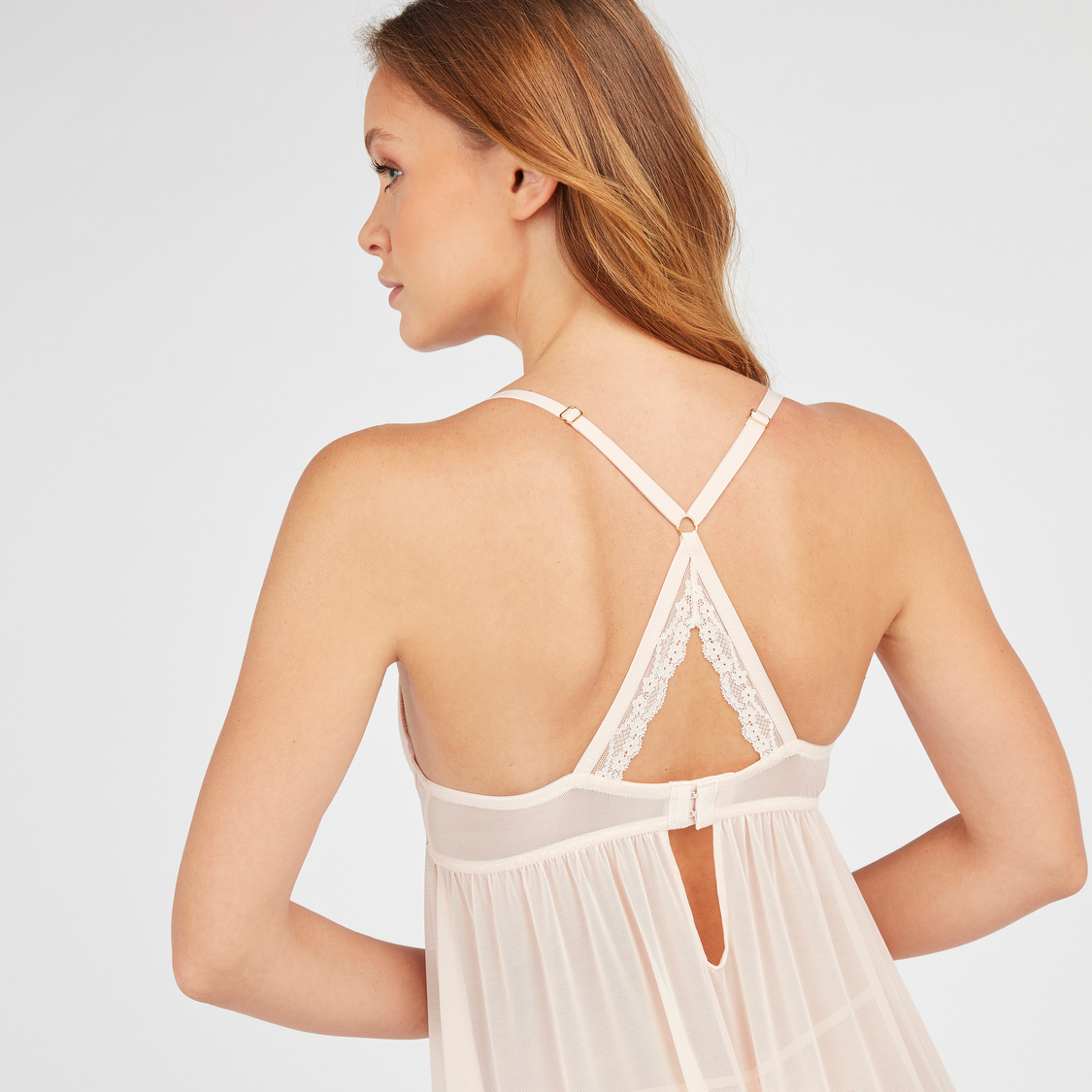 Textured Padded Babydoll with Spaghetti Straps and Lace Detail
