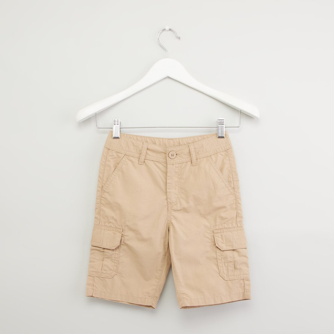 Plain Cargo Shorts with Pocket Detail and Belt Loops
