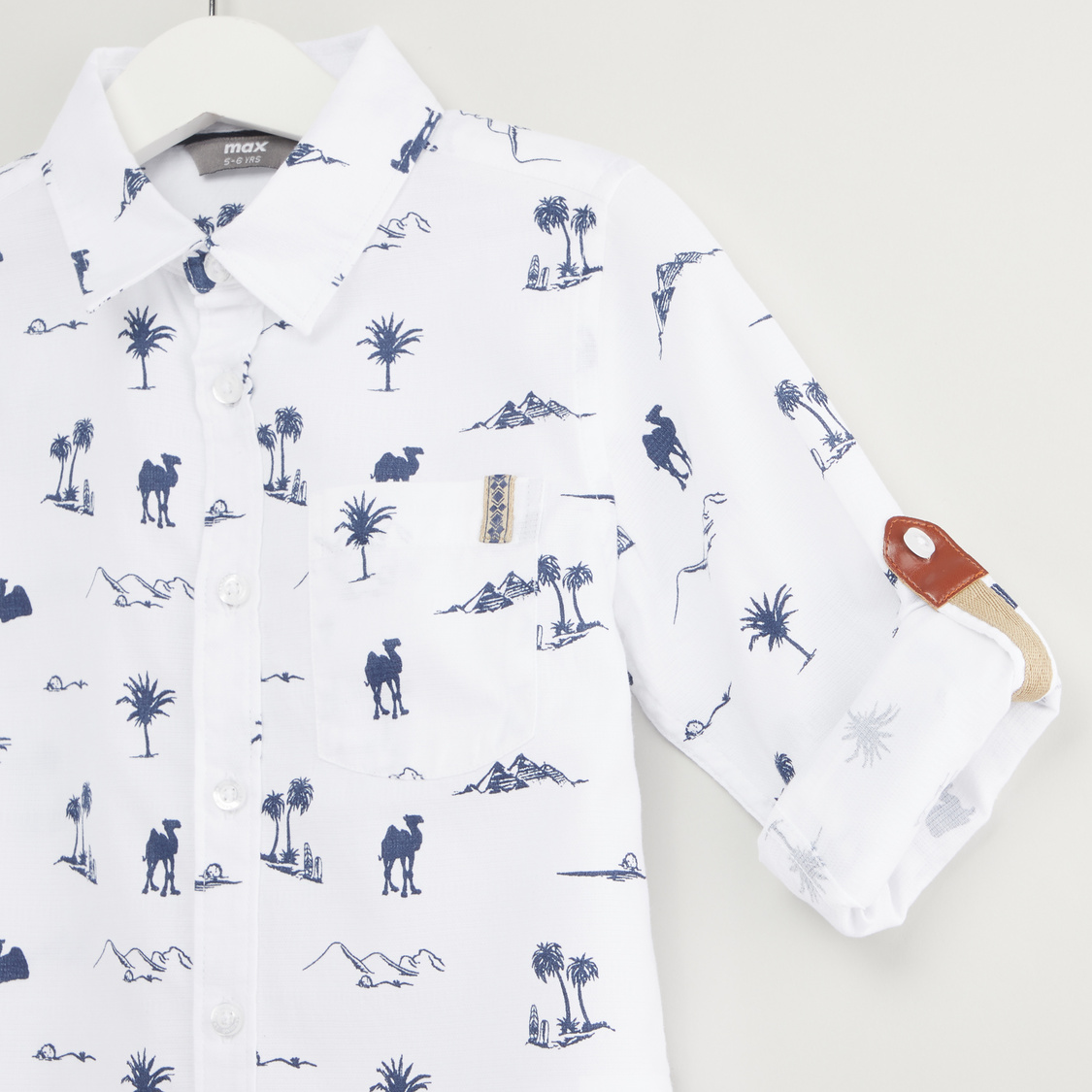 Printed Shirt with Long Sleeves and Button Tabs