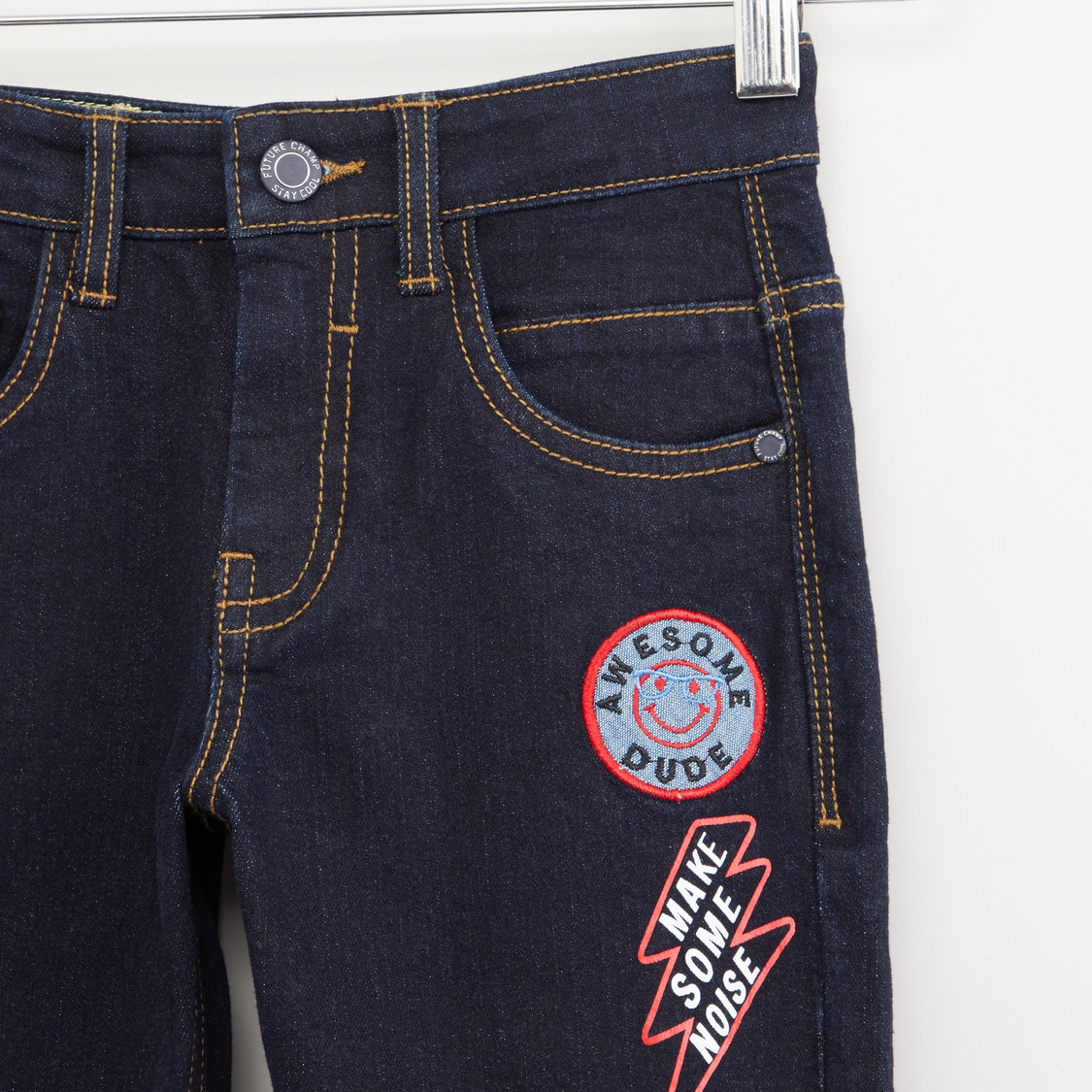 Printed Jeans with Belt Loops and Pocket Detail