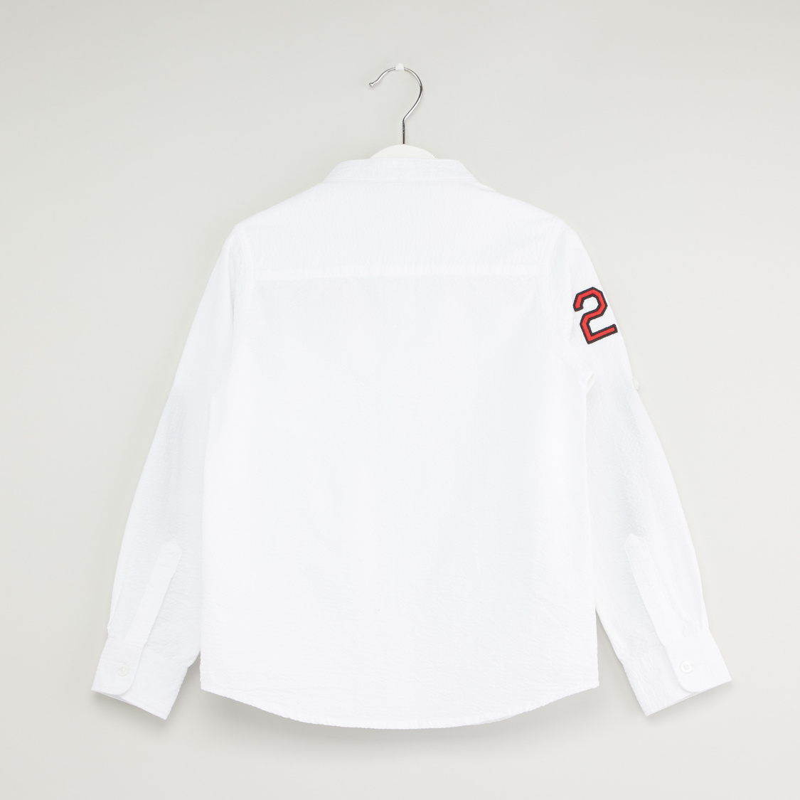 Typographic Print Shirt with Long Sleeves and Pocket Detail