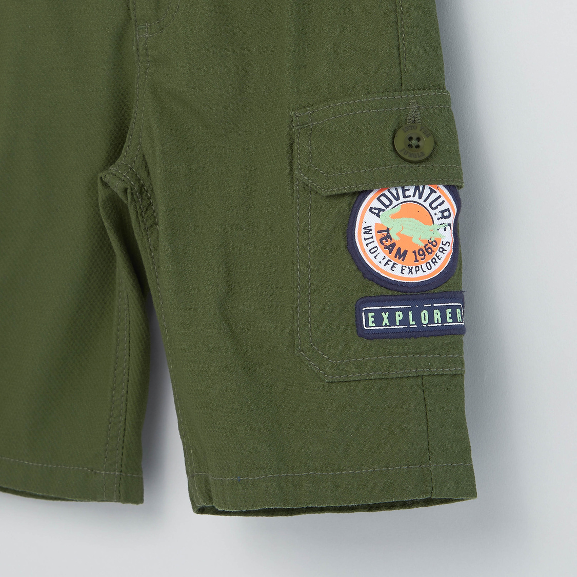 Solid Cargo Shorts with Pocket and Applique Detail