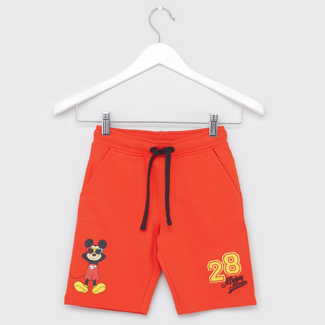 Mickey Mouse Print Polo Neck T-shirt with Shorts