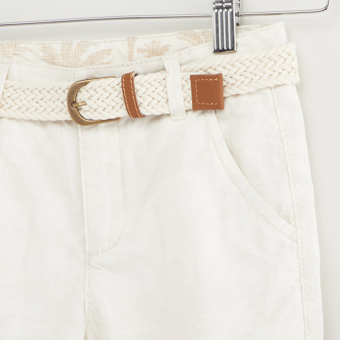Solid Shorts with Belt and Pocket Detail