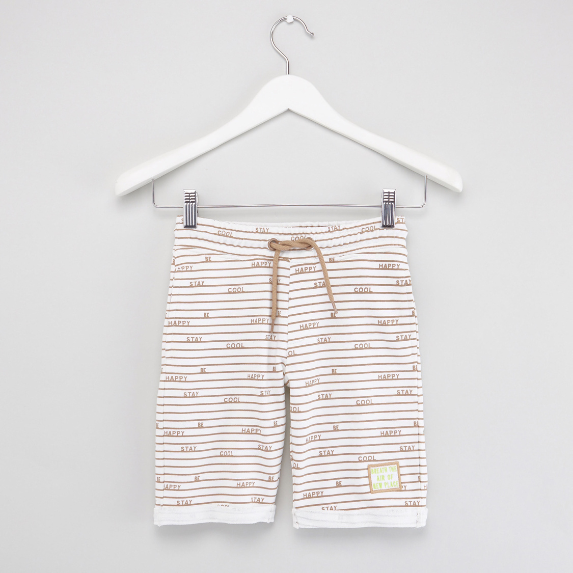 Text Print Shorts with Drawstring Closure