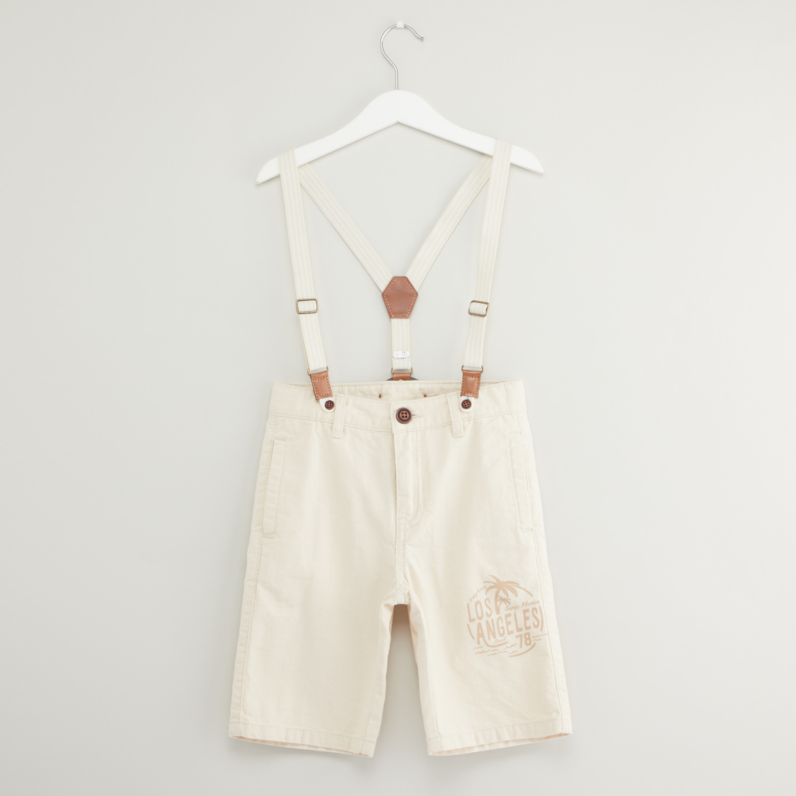 Placement Print Shorts with Suspenders