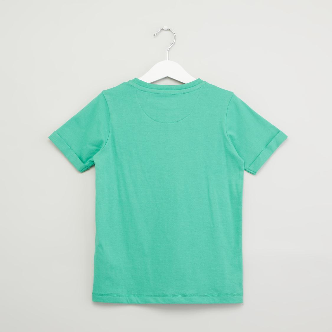 Printed Short Sleeves T-shirt with Denim Shorts