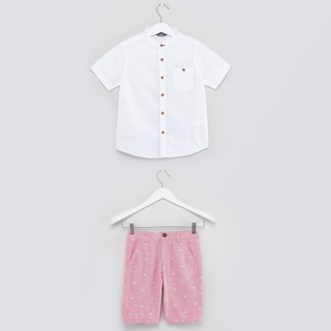 Solid Short Sleeves Shirt with Printed Shorts