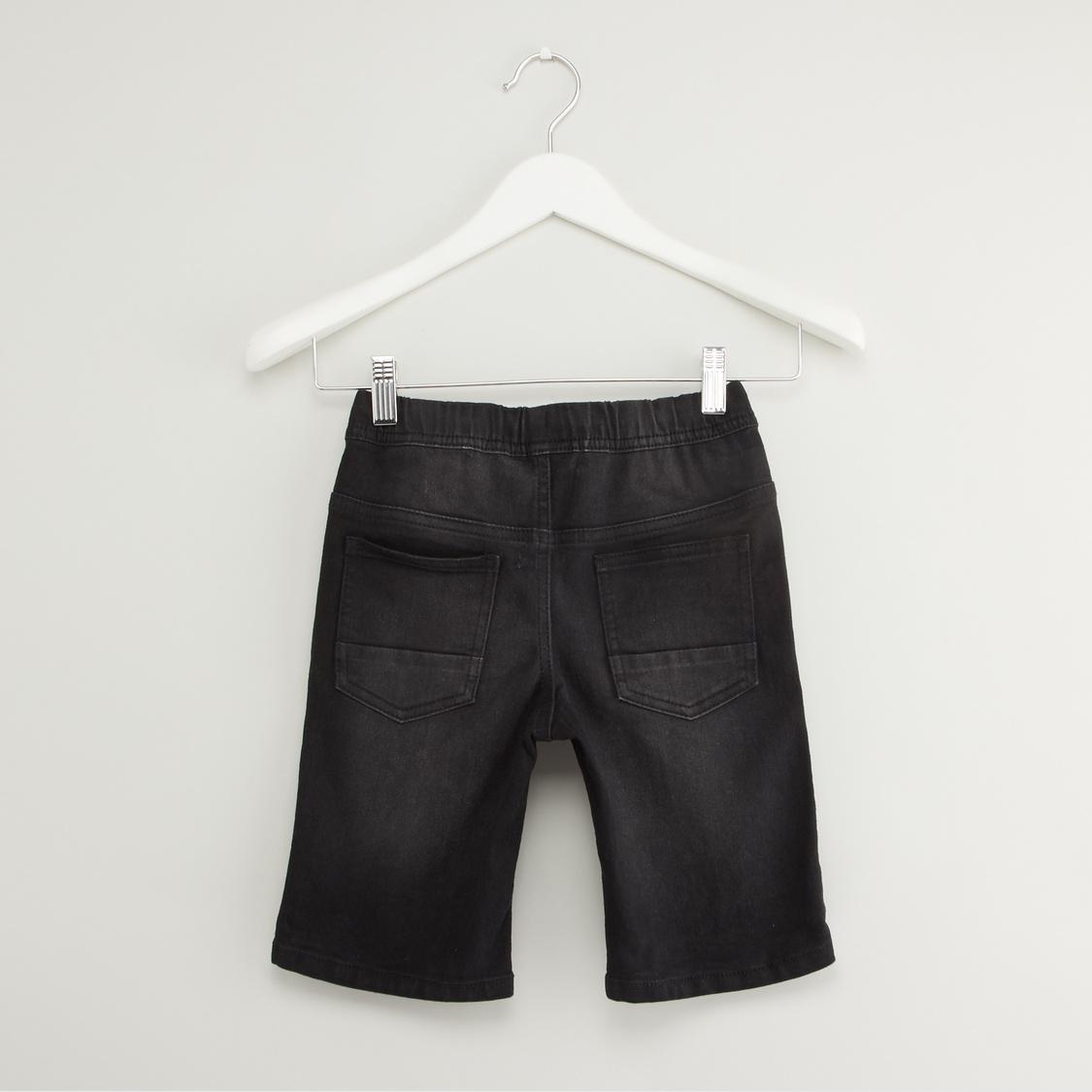 Printed Cut and Sew T-shirt and Denim Shorts Set