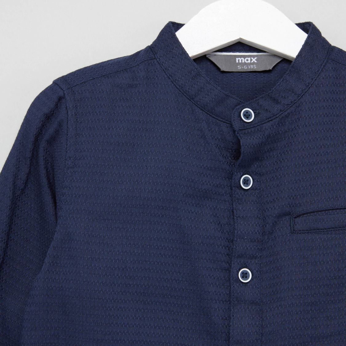 Textured Shirt with Mandarin Collar and Roll-Up Tab Sleeves