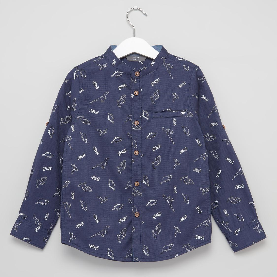 قميص بياقة ماندارين بطبعات وأكمام طويلة