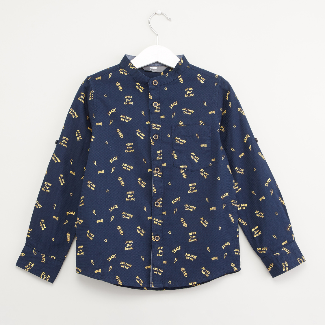 Typographic Print Shirt with Spread Collar and Long Sleeves