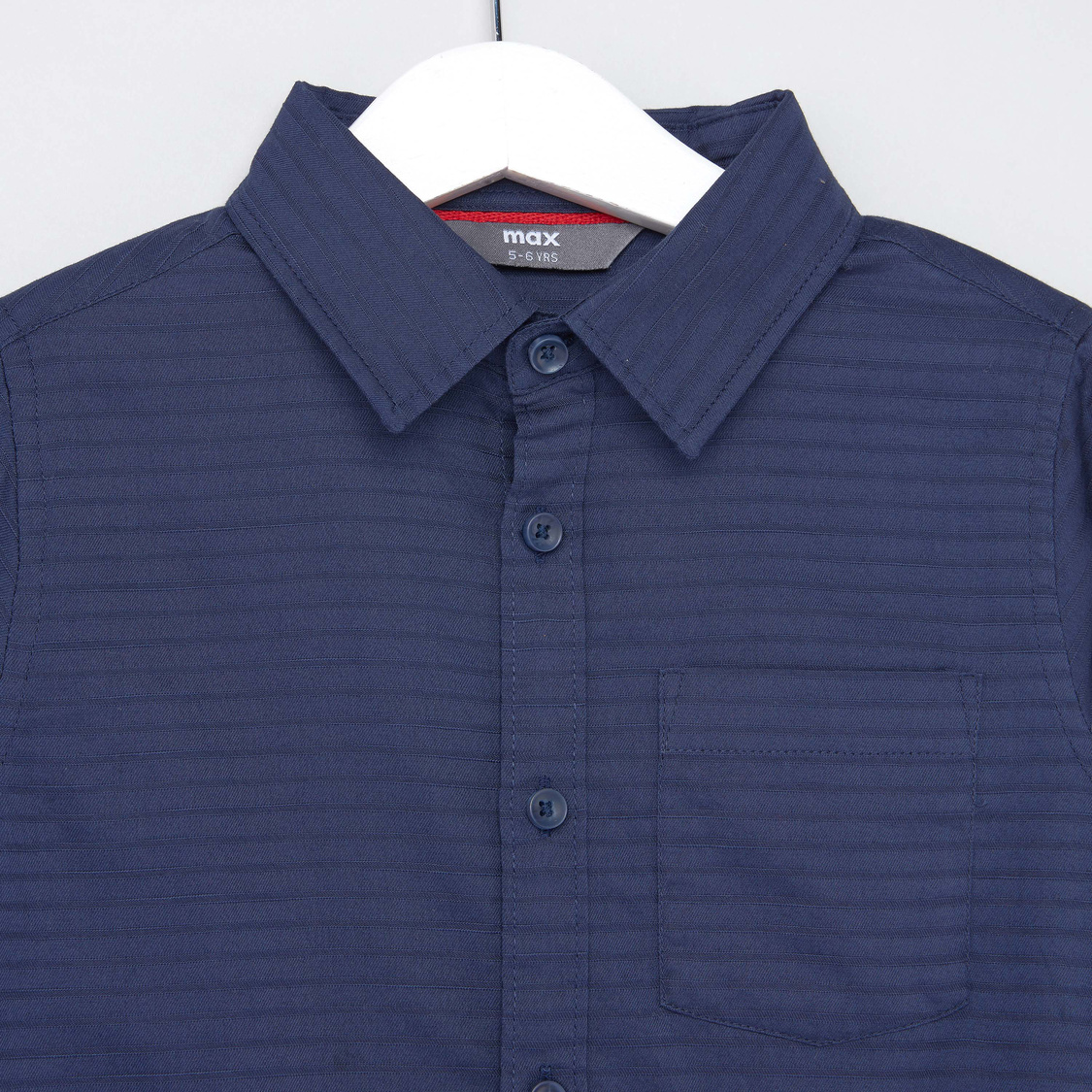 Textured Collared Shirt with Patch Pocket and Long Sleeves