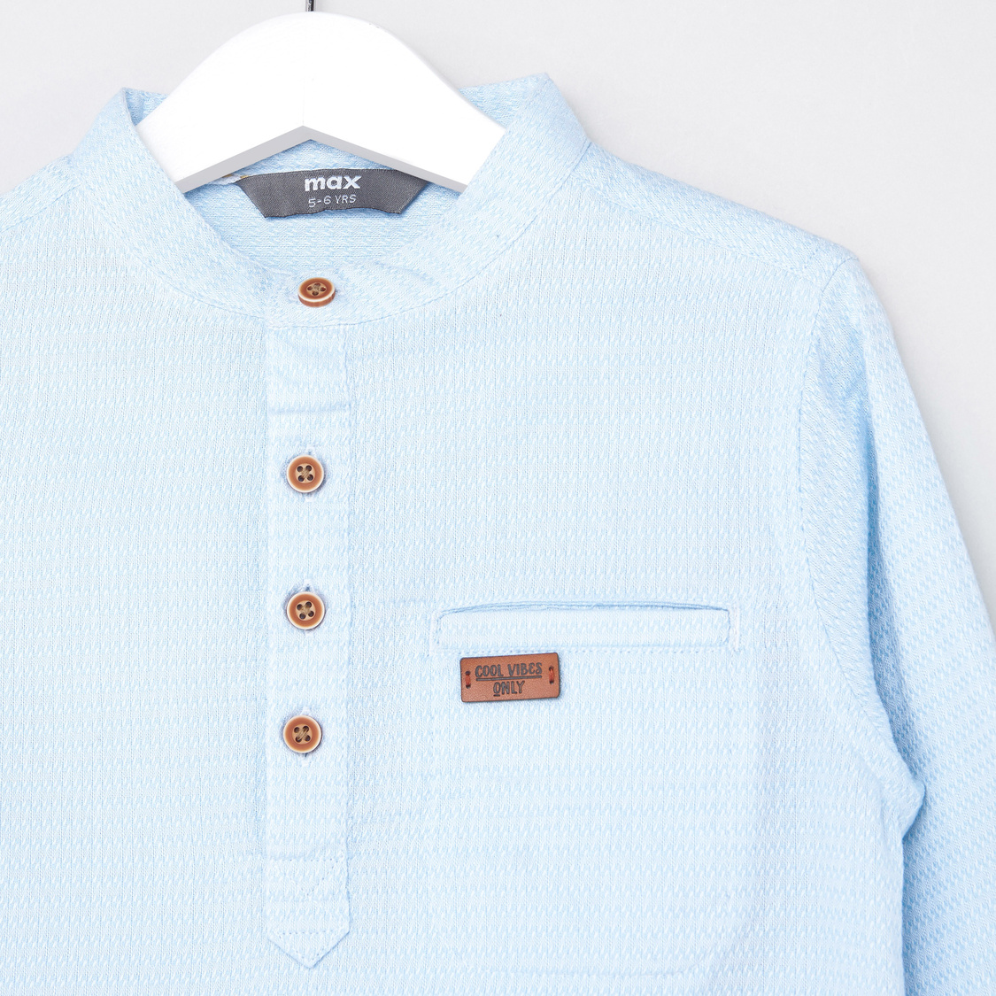 Textured Longline Shirt with Henley Neck and Long Sleeves