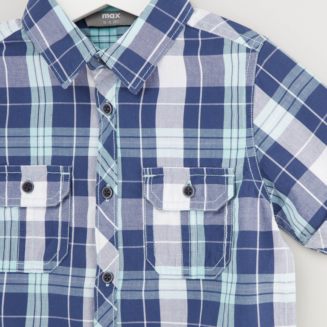 Checked Shirt with Short Sleeves and Pocket Detail