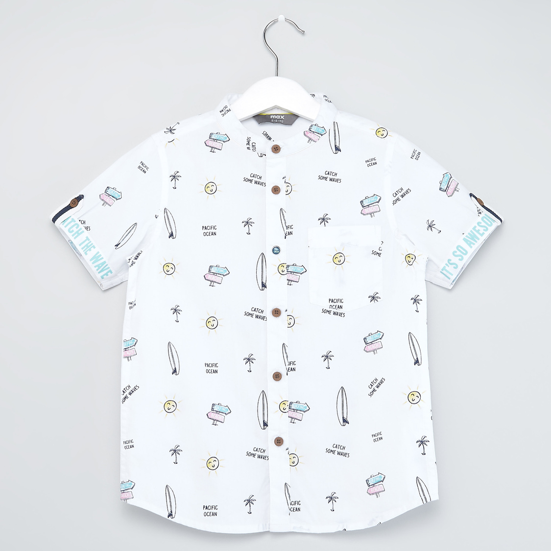 All Over Print Shirt with Mandarin Collar and Short Sleeves