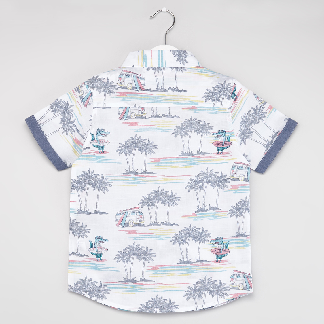 Tropical Print Shirt with Short Sleeves and Spread Collar