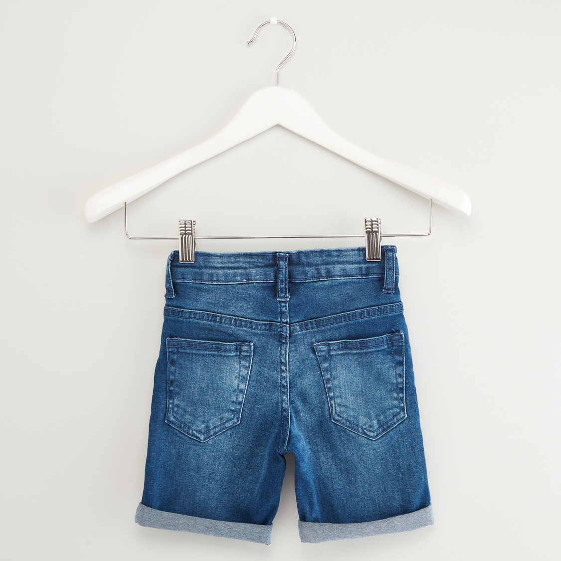 Textured Denim Shorts with Belt Loops and Pocket Detail
