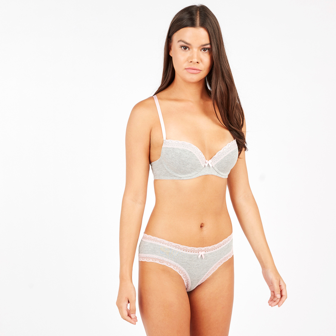 Textured Padded T-shirt Bra with Lace Detail