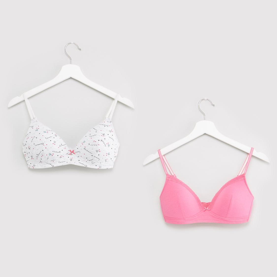 Set of 2 - Padded Non-Wired T-shirt Bra with Adjustable Straps