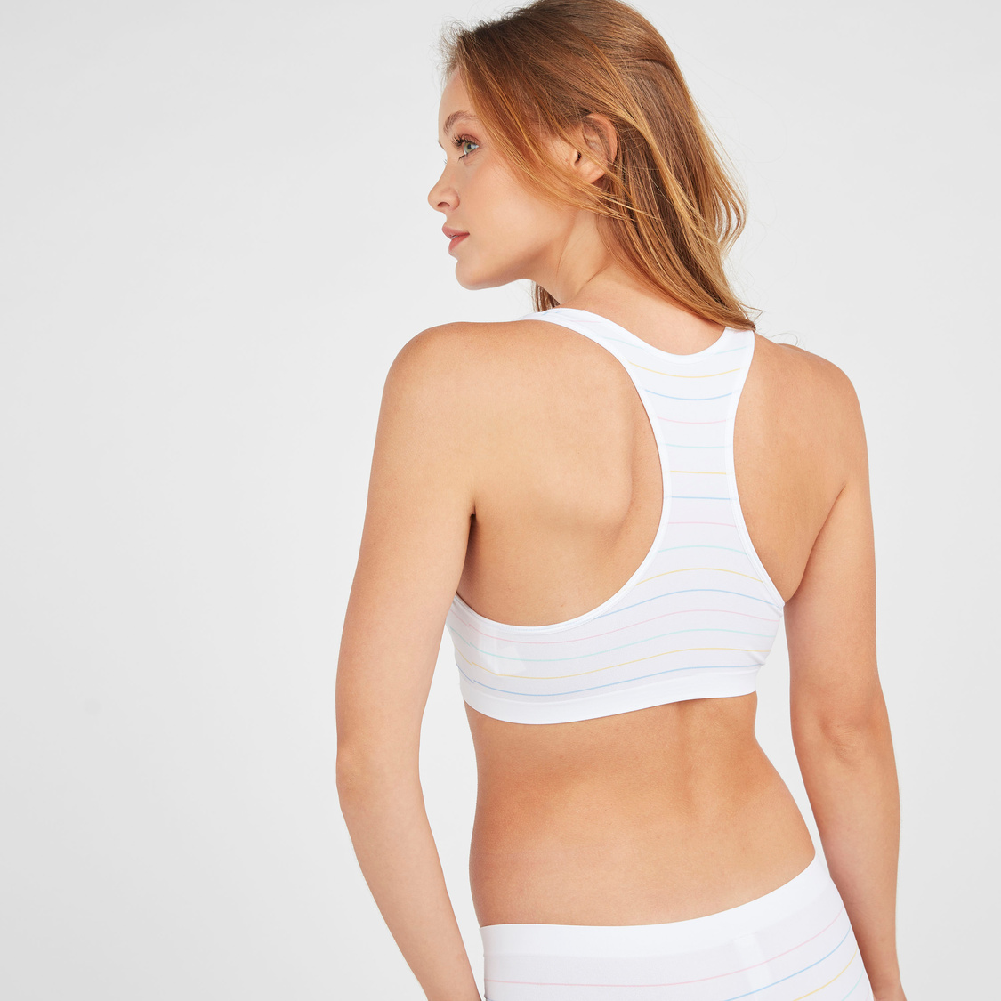 Striped Padded T-Shirt Bra with Racerback