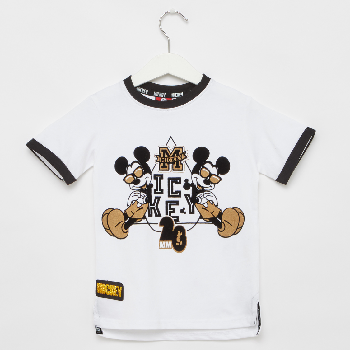 Mickey Mouse Print T-shirt with Pocket Detail Shorts
