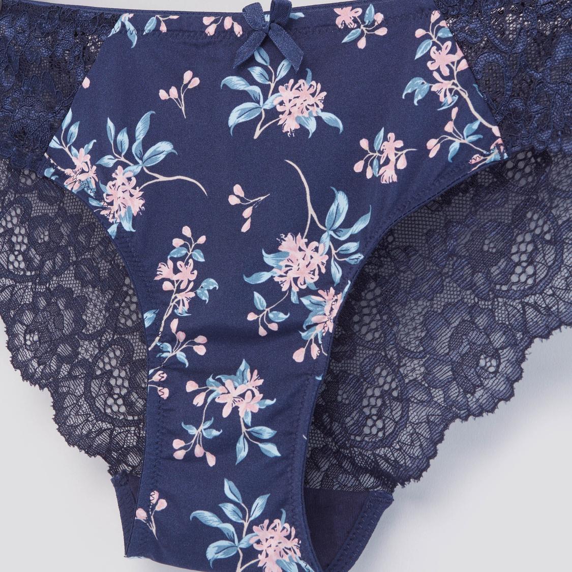 Floral Printed Bikini Briefs with Scalloped Lace Trim