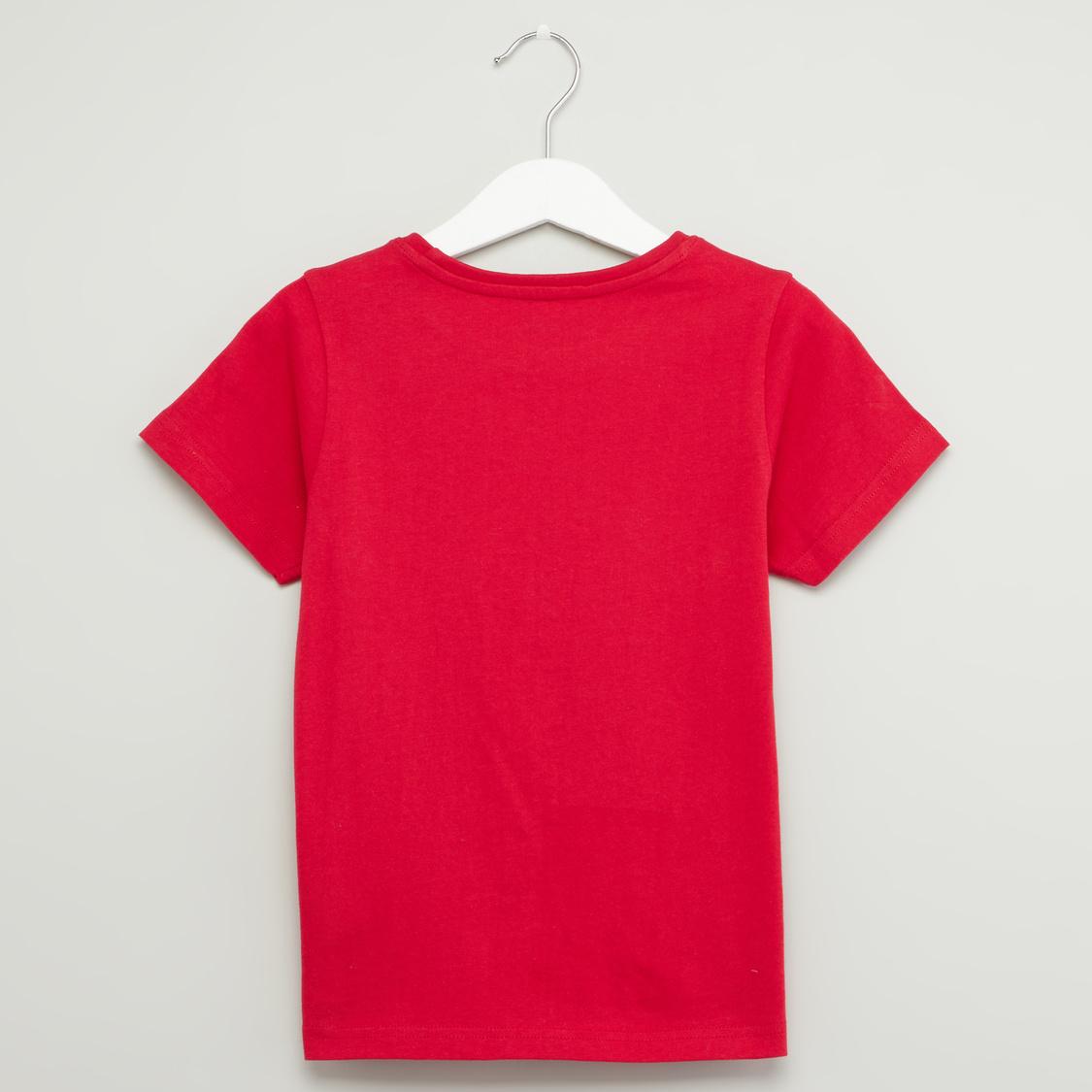 Printed Round Neck T-shirt and Shorts Set