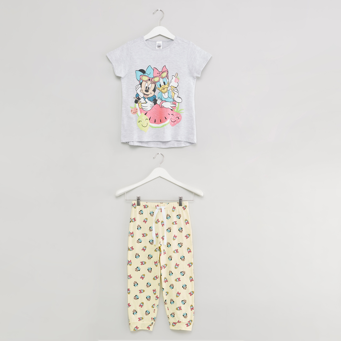 Minnie Mouse and Daisy Duck Print T-shirt and Full Length Pyjama Set